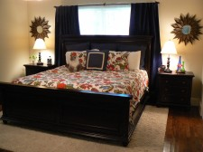 master bedroom - our home - starburst mirrors