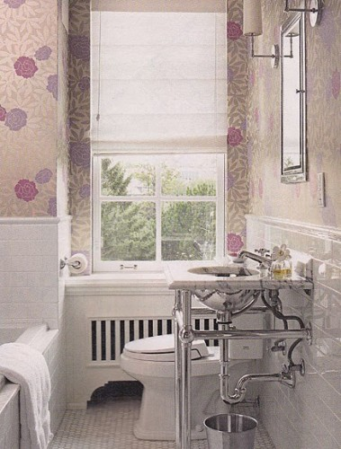 Vintage bathroom wallpaper 2017 grasscloth wallpaper for Floral bathroom wallpaper